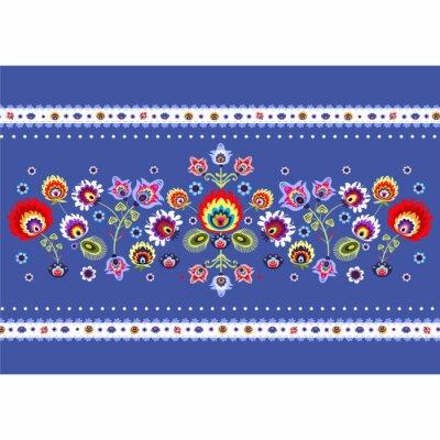 Obraz Wzór Ludowy na niebieskim TLE