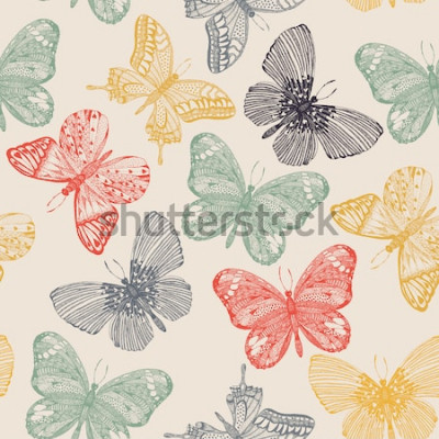 Obraz Wzór motyle w stylu bazgroły. Motylia wektorowa ilustracja dla rocznika projekta.