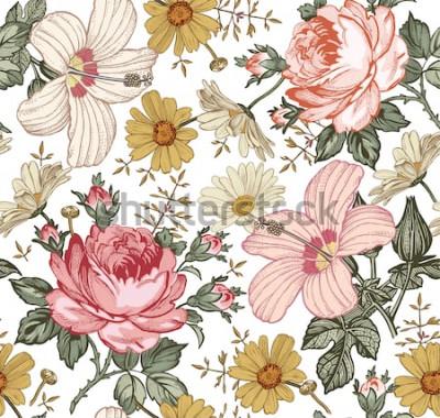 Obraz Wzór. Piękne różowe kwitnące realistyczne pojedyncze kwiaty. Rocznika tło gobelin Rumianku róży poślubnika śliczni kwiaty. Tapeta. Grawerowanie rysunku Wektor wiktoriański ilustracji