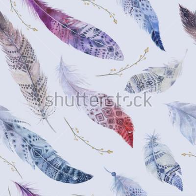 Obraz Wzór piór. Akwarela eleganckie tło. Nadruk w kolorze ekologicznym w kolorze organicznym. Tekstura wielostrzałowa kolor tekstura tekstura z rysunkiem modna tapetą. Ilustracja ptak.