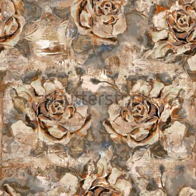 Obraz wzór róży bez szwu tła; Mocno mieszane retro brązowe dekoracje kwiatowe do wnętrza domu, abstrakcyjne kwiatowe płytki ścienne do domu, płytki ceramiczne. Tapeta, linoleum, tekstylia, strona internetow