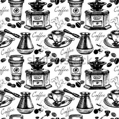 Obraz Wzór wzór kawy. Ręcznie opracowane ilustracje wektorowe
