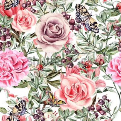 Obraz Wzór z akwarela realistyczne róża, piwonie, motyle i rośliny. Ilustracja.