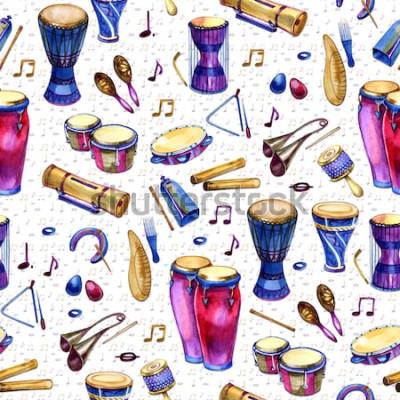 Obraz Wzór z bębnów w stylu przypominającym akwarele na białym tle. Instrumenty muzyczne perkusyjne. Kolorowy design na imprezę retro w stylu Memphis. ilustracja