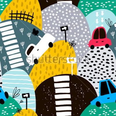 Obraz Wzór z gotowym pięknym samochodem i wzgórzami. Obejmuje samochody, znak drogowy, ilustracja wektorowa przejście dla pieszych. Idealny dla dzieci tkanina, tkanina, tapety dziecięce