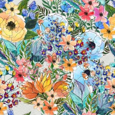 Obraz Wzór z kolorowych kwiatów