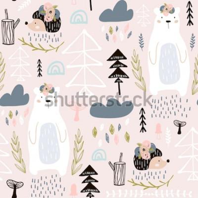 Obraz Wzór z niedźwiedzia, kwiatowe elementy, Jeż. Kreatywnego lasu wysokości szczegółowy tło. Idealny do odzieży dziecięcej, tkaniny, tkaniny, dekoracji przedszkola, papieru do pakowania. Ilustracja wektor