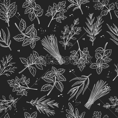 Obraz Wzór z przygotowanym szkicem ziół i przyprawami do menu menu rolników. Wektor tła kulinarne zioła w stylu tablica.