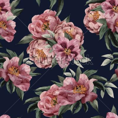 Obraz Wzór z purpurowymi różami na czarnym tle, akwarela.