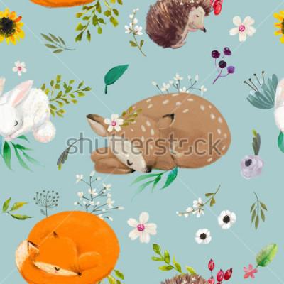Obraz wzór z uroczych zwierzątek z kwiatami