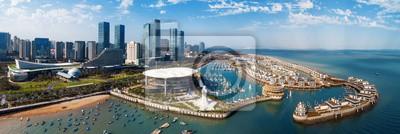 Xiamen city aerial view panorama