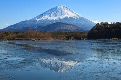 Obraz 氷 の 張 っ た 精進 湖 か ら の 富士山