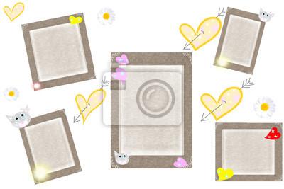 Obraz Серые рамки с сердечками на белом фоне