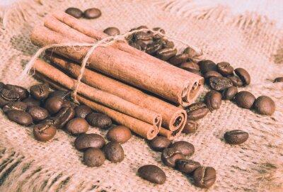 Obraz Мешковина, кофе и корица