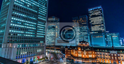 Obraz 東京駅 丸の内 夜景 ~Tokyo Station And Buildings Night View~