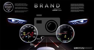 О Natychmiastowa wizja. Deska rozdzielcza samochodu, Projekcja, Tachometr.speedometer