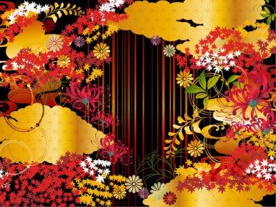 Obraz 秋紅葉金雲和柄背景素材