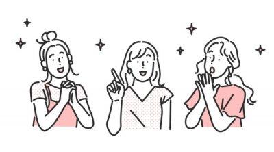 Obraz 笑顔の女性・友達に紹介するイラスト素材