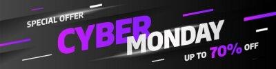 Cyber poniedziałek koncepcja zniżki sprzedaży. Szablon projektu napisu. Cyber poniedziałek banner. Wektorowa ilustracja eps 10.