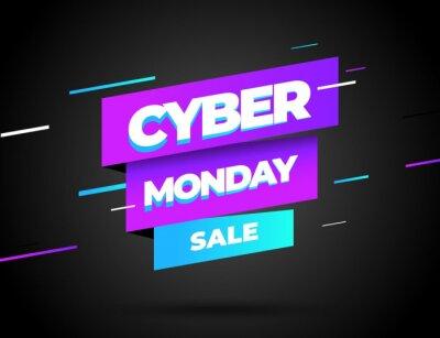 Koncepcja sprzedaży z rabatem w Cyber poniedziałek. Szablon projektu napis. Baner w Cybernetyczny poniedziałek. Wektorowa ilustracja eps 10.