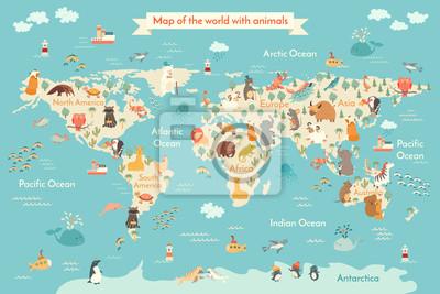 Mapa Zwierzęta świata Dla Dziecka świat Wektor Plakat Dla Dzieci Obrazy Redro