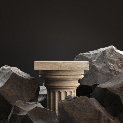 Obraz Old column podium for display product on а black background. 3d illustration