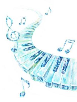 Obraz ガラスの鍵盤 ト音記号 音符