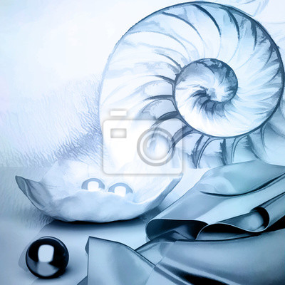 Сut away of a chambered nautilus shell, mother of pearl shell, popular cephalopod. Marine still life.