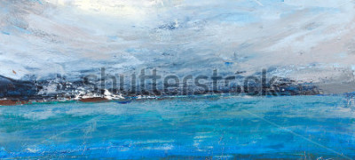 Obraz Zimny ocean, krajobraz z morzem, szorstki kraj. Malarstwo, malarstwo artystyczne