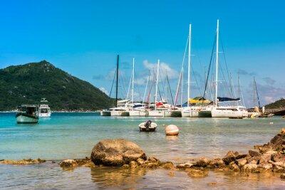 Obraz Yachts Marina at Praslin island Seychelles