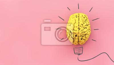 Obraz yellow brain on pink background