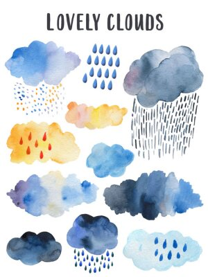 Obraz Yellow rainy cloud. Scandinavian poster for children's room decor