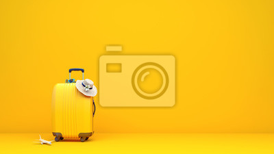 Obraz Yellow suitcase packed and ready for summer vacation 3D Rendering