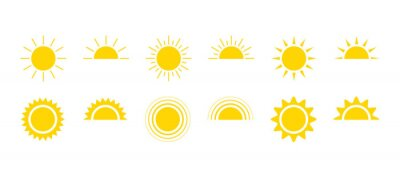 Obraz Yellow sun icon set, sunshine and solar glow, sunrise or sunset. Decorative circle full and half sun and sunlight. Hot solar energy for tan. Vector sign