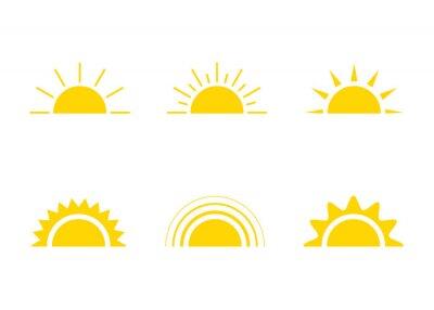 Obraz Yellow sun icon, sunshine and sunrise or sunset. Decorative sun and sunlight. Hot solar energy for tan. Vector sign
