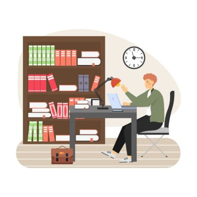 Young man, student studying at library, sitting at table, working on laptop, flat vector illustration.