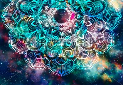 Obraz Z gwiazdami polem i kolorowy galaxy tło, akwareli sztuki cyfrowy obraz i mandala graficzny projekt