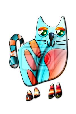 Obraz Zabawa kota portret rysunek sztuka