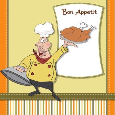 Obraz Zabawna Cartoon kucharz z tacą jedzenia w ręku