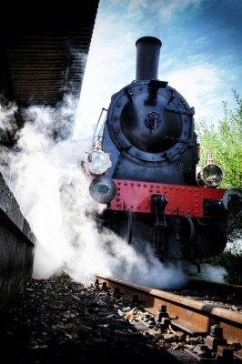 Obraz Zabytkowy parowóz pociągu w ruchu