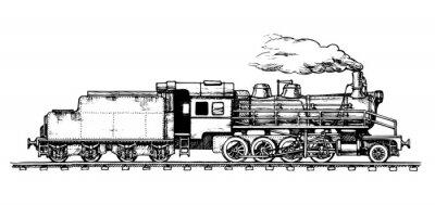 Obraz zabytkowym pociągiem