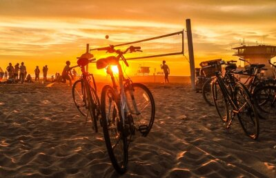 Obraz Zachód słońca na plaży, siatkówka plażowa Wenecji