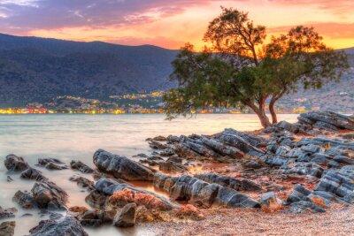 Obraz Zachód słońca na zatokę Mirabello na Krecie, w Grecji