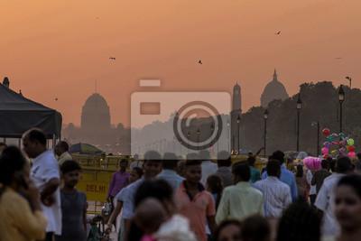 Obraz Zachód słońca nad budynkami rządowymi, New Delhi w Indiach