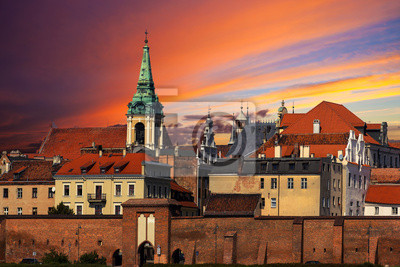Zachód słońca nad Starym Mieście w Toruniu.