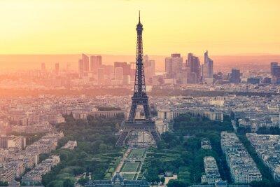 Obraz Zachód słońca w Paryżu miasta z Wieży Eiffla we Francji