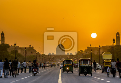 Obraz Zachód słońca w pobliżu Residence Prezydencki, Rashtrapati Bhavan, New Delhi, Indie.
