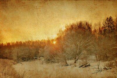 Obraz Zachód słońca w polu zimowych w stylu grunge