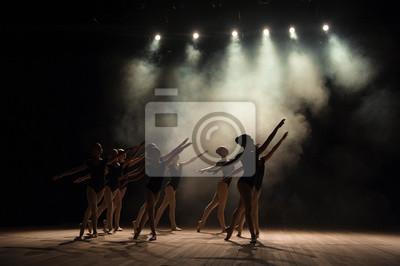 Obraz Zajęcia baletowe na scenie teatru ze światłem i dymem. Dzieci angażują się w klasyczne ćwiczenia na scenie.