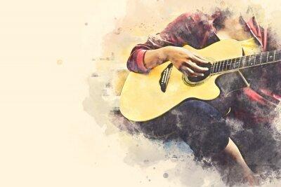 Obraz Zakończenie kobiety bawić się gitarę akustyczną na chodzącej ulicie na akwarela obrazu ilustracyjnym tle.